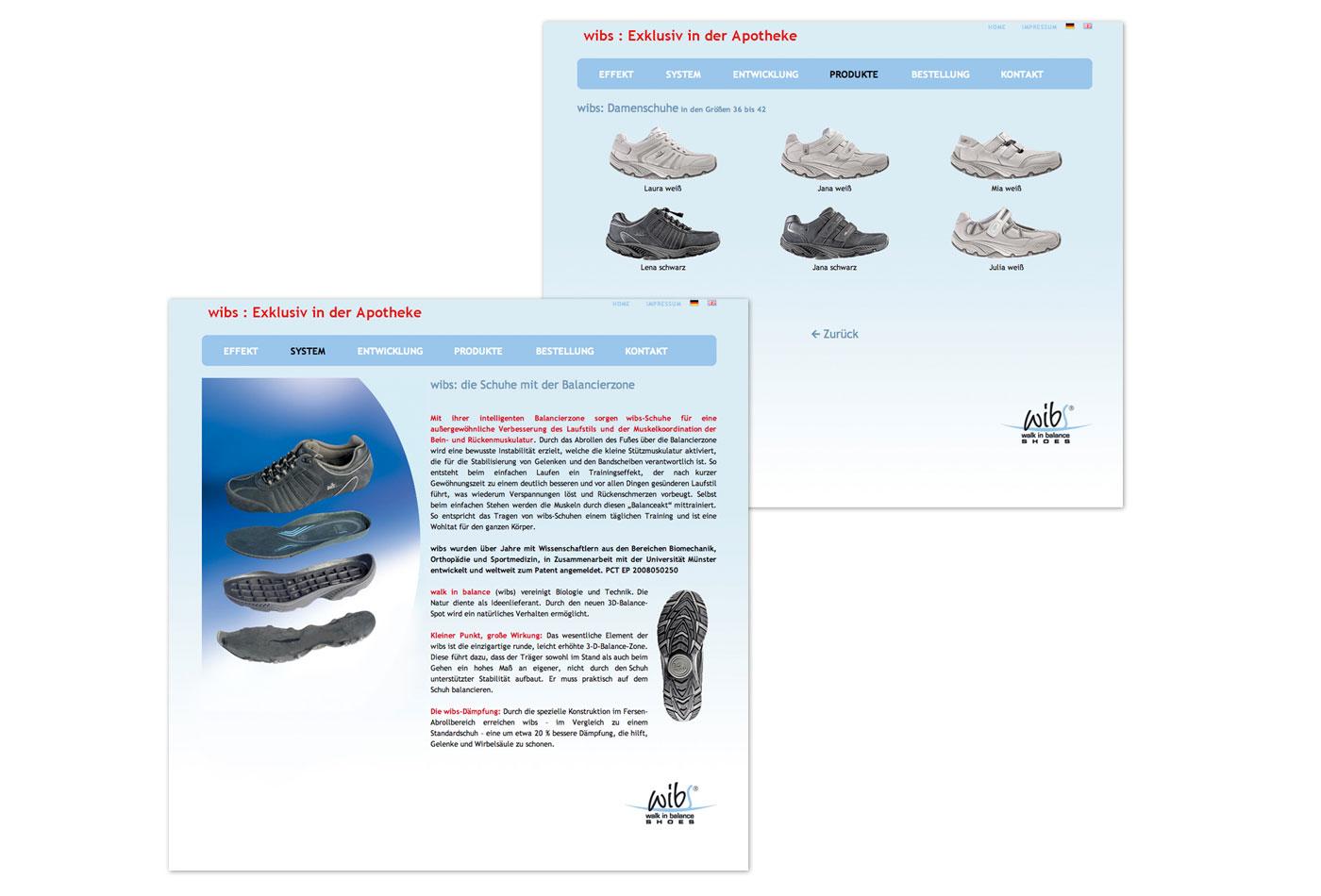 Schuh-Kollektion auf der Wibs-Website