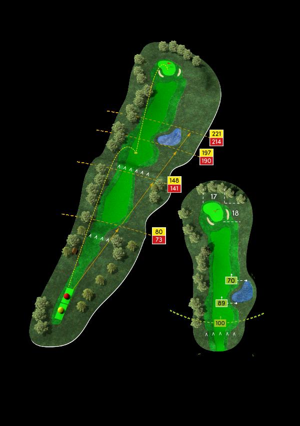 Dreidimensionale Ansicht der Bahn 6 am Golfplatz Werl