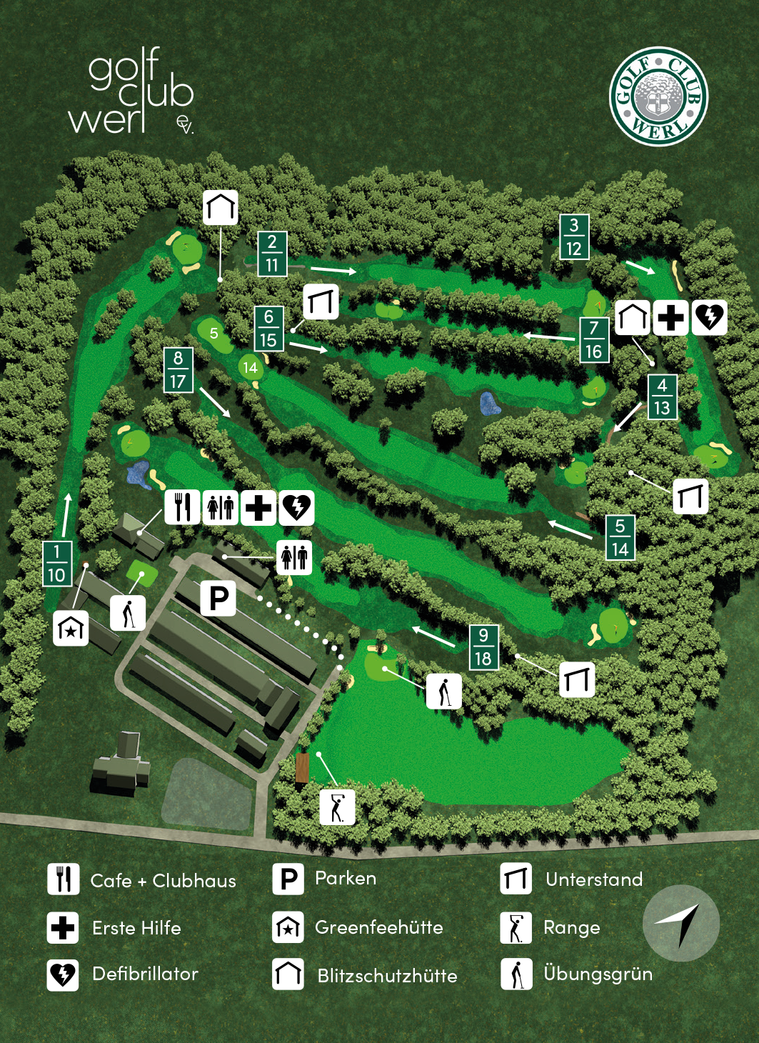 Plakat mit dreidimensionaler Gesamtansicht des Golfplatzes zwischen Werl und Wickede