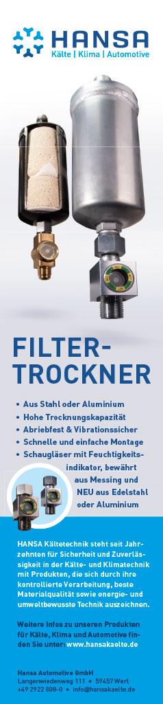 Werbung für Filtertrockner