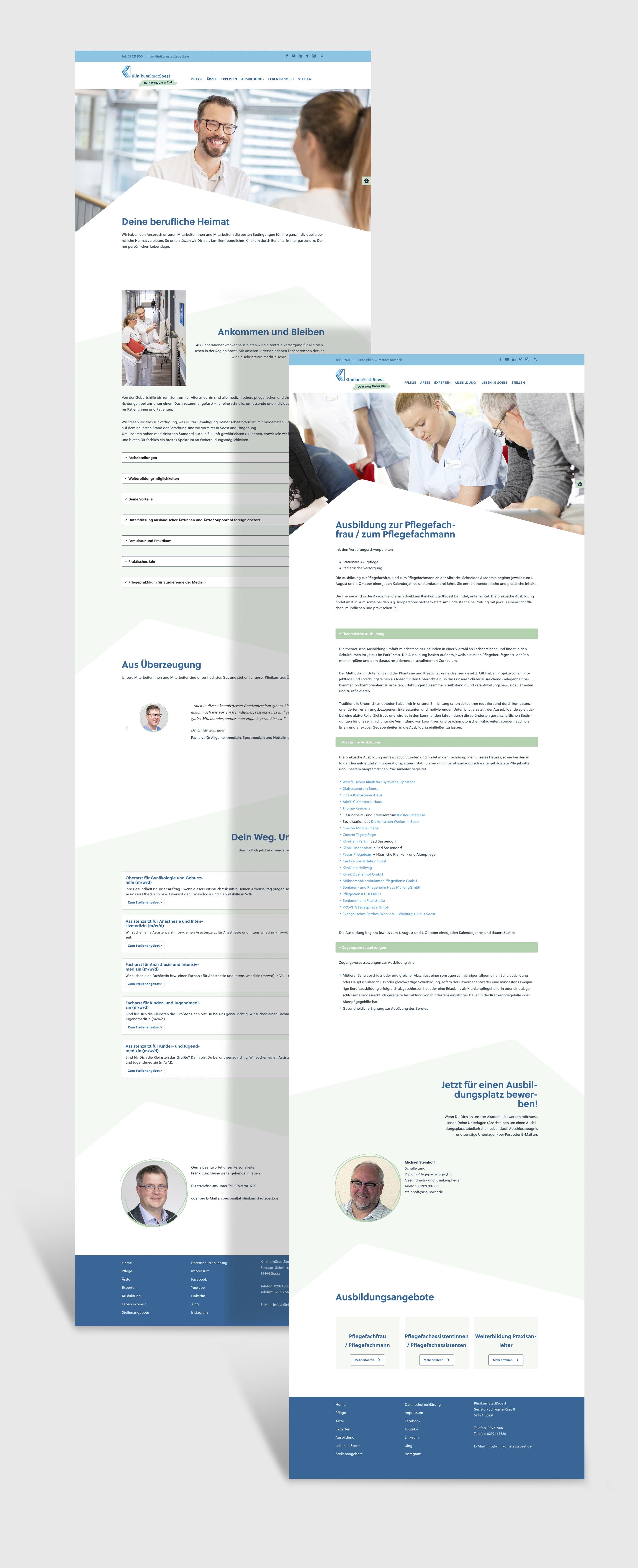 Webdesign für die Karrierewebsite des Klinikums der Stadt Soest
