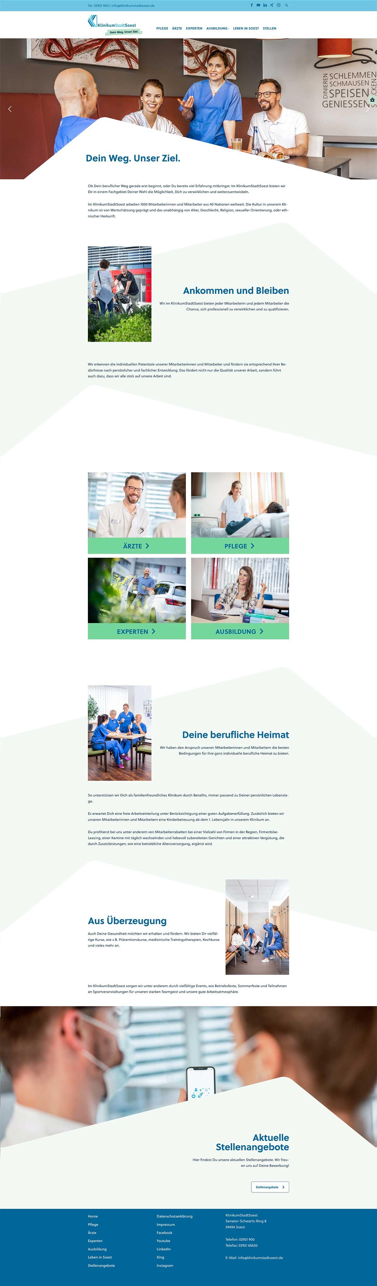 Startseite der Karrierewebsite für das Klinikum der Stadt Soest
